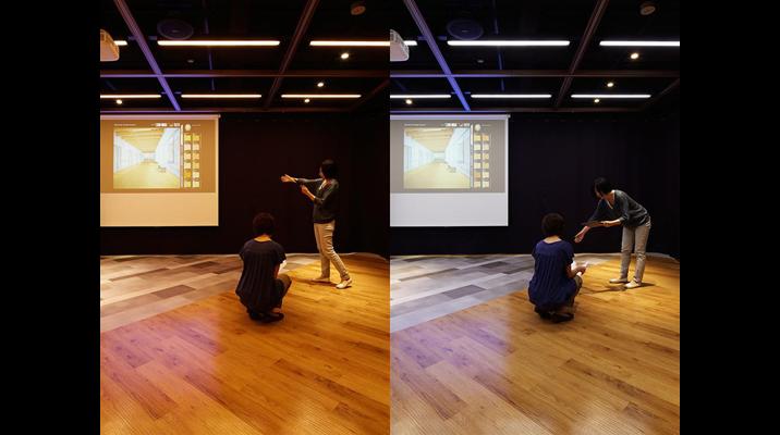 2Fラボフロア。調光調色設備を使い、床材の見え方を検討できるモックアップシーン。