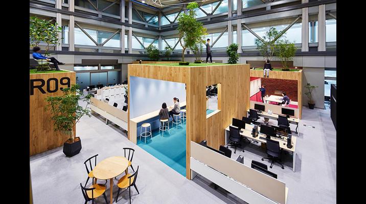 オフィスの中にある「木」のボックスは、ミーティングやユーティリティの機能を持っています。