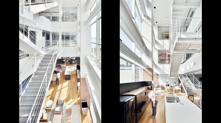 執務エリアのある3階から5階は吹抜けのある内階段でつなぎ、部門間の連携を図りやすくしています。
