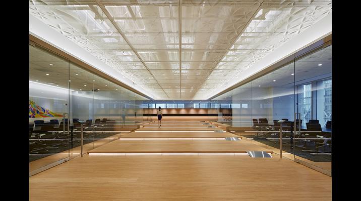 日本独自のレイヤーによる空間構成からヒントを得て、Stageとよばれる階段状の広間空間を設けました。